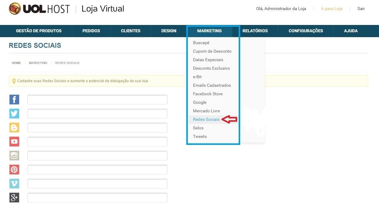 a813050d2 Como integrar minha Loja Virtual com as Redes Sociais  - Tutoriais e ...
